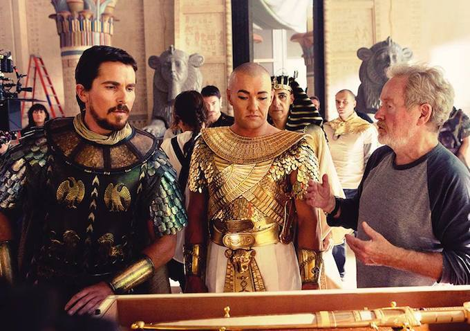 Ridley Scott directing Christian Bale and Joel Edgerton in 'Exodus: Gods and Kings'